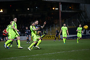 22nd February 2019, Dens Park, Dundee, Scotland; Ladbrokes Premiership football, Dundee v Hibernian; Martin Woods of Dundee scores for 4-2 in the 81st minute
