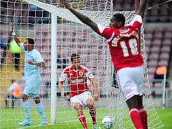 Bristol City's Sam Baldock collects the ball for a quick restart after scoring  - Photo mandatory by-line: Dougie Allward/JMP - Tel: Mobile: 07966 386802 11/08/2013 - SPORT - FOOTBALL - Sixfields Stadium - Sixfields Stadium -  Coventry V Bristol City - Sky Bet League One