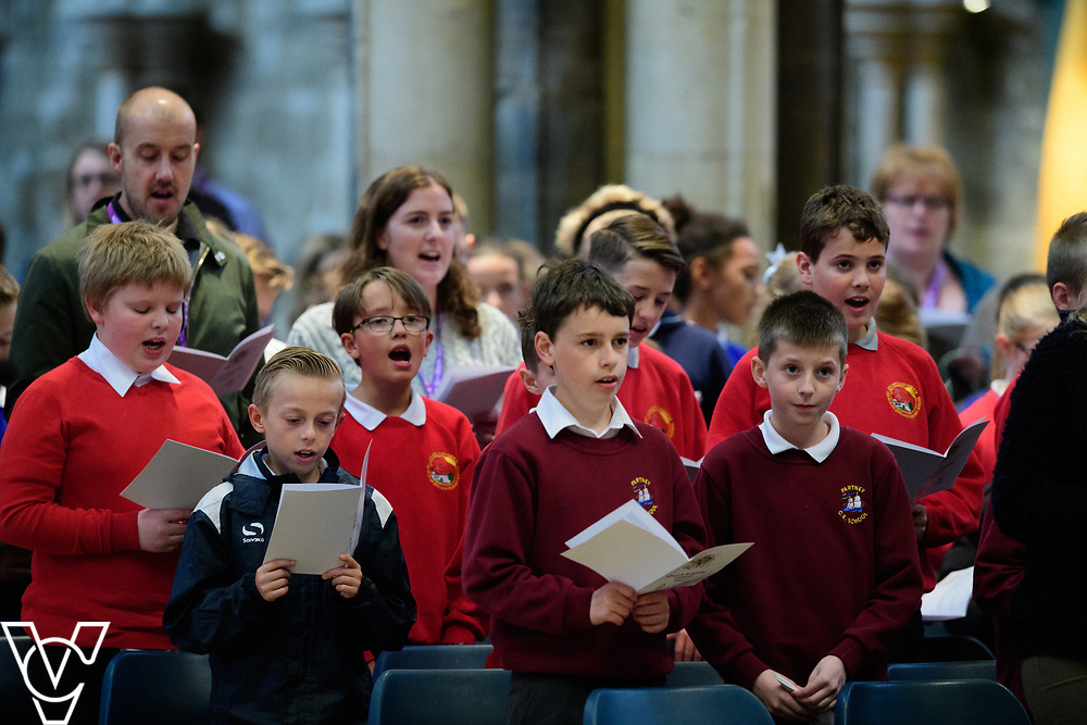 An act of worship during the Church Schools Festival taking place at Lincoln Cathedral.<br /> <br /> Picture: Chris Vaughan Photography<br /> Date: May 16, 2017