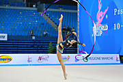 Sanchez Michelle during qualifying at ribbon in Pesaro World Cup at Adriatic Arena on April 11, 2015. Michelle was born in Caracas on  March 03. She is a rhythmic gymnast member of the Venezuela National Team.