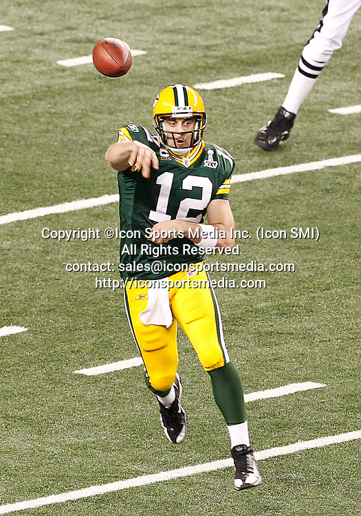 February 6, 2011: Green Bay Packers QB Aaron Rodgers #12 throws a pass during the fourth quarter of the Pittsburgh Steelers game versus the Green Bay Packers in Super Bowl XLV at Cowboys Stadium in Arlington, Texas.***FOR EDITORIAL USE ONLY****