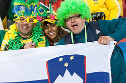 Fans of Brazil and Slovenia during the 2010 FIFA World Cup South Africa Group G match between Brazil and North Korea at Ellis Park Stadium on June 15, 2010 in Johannesburg, South Africa. Brazil defeated Korea 2-1. (Photo by Vid Ponikvar / Sportida)