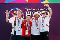 1 August 2015: Special Olympic World Games Los Angeles Sailing Finals in Long Beach, California.  Team Australia Friedrich Trippolt and Jacob Williams and Team Russia Andrei Akimenko and Sergey Panin with their competition medals.