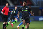 Ebou Adams in action during the EFL Sky Bet League 2 match between Macclesfield Town and Forest Green Rovers at Moss Rose, Macclesfield, United Kingdom on 25 January 2020.