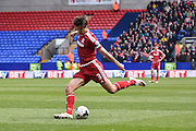 Middlesbrough Defender, George Friend shoots during the Sky Bet Championship match between Bolton Wanderers and Middlesbrough at the Macron Stadium, Bolton, England on 16 April 2016. Photo by Mark Pollitt.