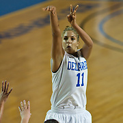 11/11/11 Newark DE: Delaware Junior Forward #11 Elena Delle Donne shoot a three pointer from the top of the key during a week one NCAA Women's College basketball game, Friday, Nov. 11, 2011 at the Bob carpenter center in Newark Delaware...Delaware would go on to defeat the Rhode Island rams 89-53...Special to The News Journal/SAQUAN STIMPSON