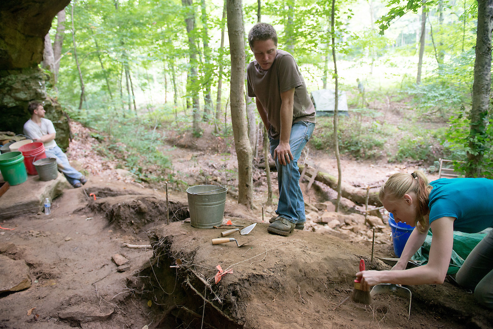 Ohio University student Tatiana Fox (Right) participates in a Archaeology Summer Field School lead by Ohio University Instructor Paul Patton (Center).  Photo by Ben Siegel