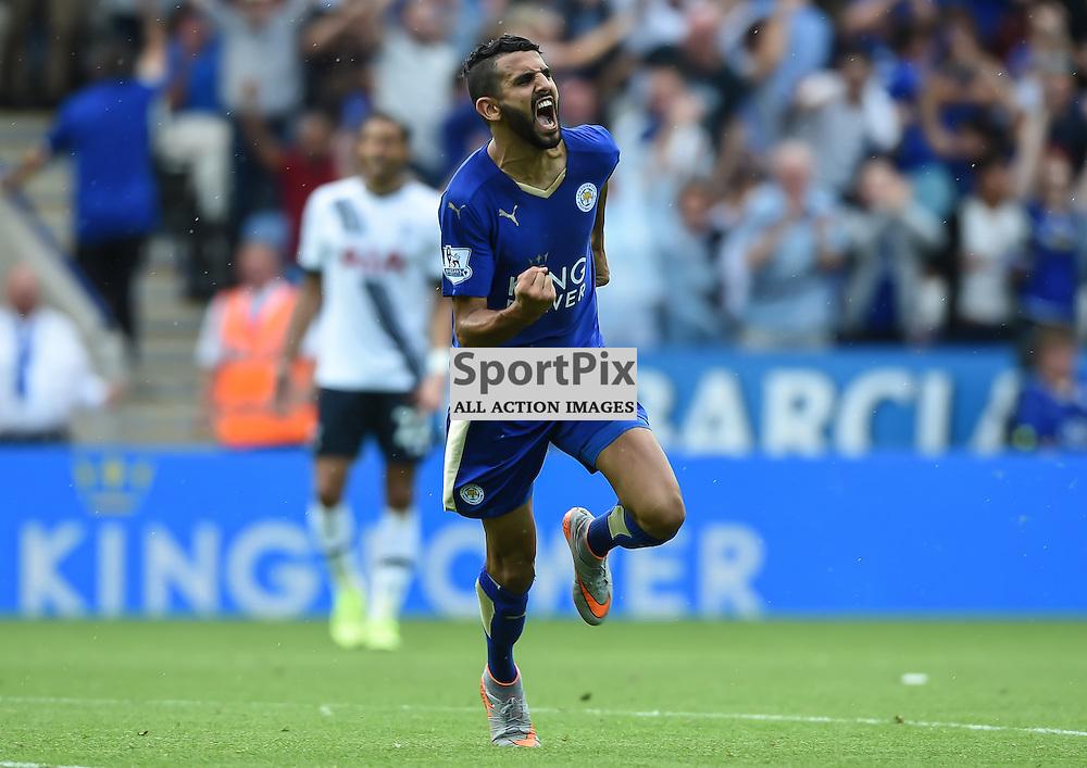 Riyad Mahrez celebrates after scoring Leicester's equaliser against Tottenham (c) Simon Kimber   SportPix.org.uk