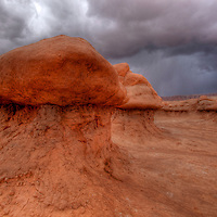 "Thunderclouds move in above a ""goblin."" Goblin Valley State Park, Utah"
