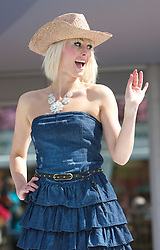 LIVERPOOL, ENGLAND - Thursday, April 8, 2010: A model during the Style 2010 fashion parade during the opening day of the Grand National Festival at Aintree Racecourse. (Pic by David Tickle/Propaganda)