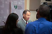 Cleveland Clinic CEO Toby Cosgrove answers questions from the media following the announcement of a partnership with Ohio University's Heritage College of Osteopathic Medicine at Southpointe Hospital in Warrensville Heights Ohio.