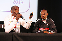 Athletics - 2018 Virgin Money London Marathon<br /> <br /> Winner, Eliud Kipchoge of Kenya with Mo Farah of GBR at their press conference after the race<br /> <br /> COLORSPORT/ANDREW COWIE