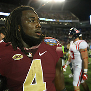 Florida State Seminoles running back Dalvin Cook (4) is seen after a NCAA football game between the Ole Miss Rebels and the Florida State Seminoles at Camping World Stadium on September 5, 2016 in Orlando, Florida. (Alex Menendez via AP)