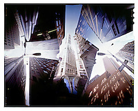 a pinhole image of the urban canyons of lower Manhattan, New York.