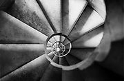 A spiral staircase in the Segrada Cathederal in Barcelona, Oct 1998