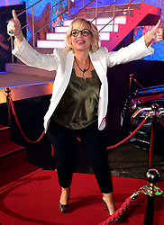 Sally Morgan enters the house during the Celebrity Big Brother Launch Night at Elstree Studios, Hertfordshire.