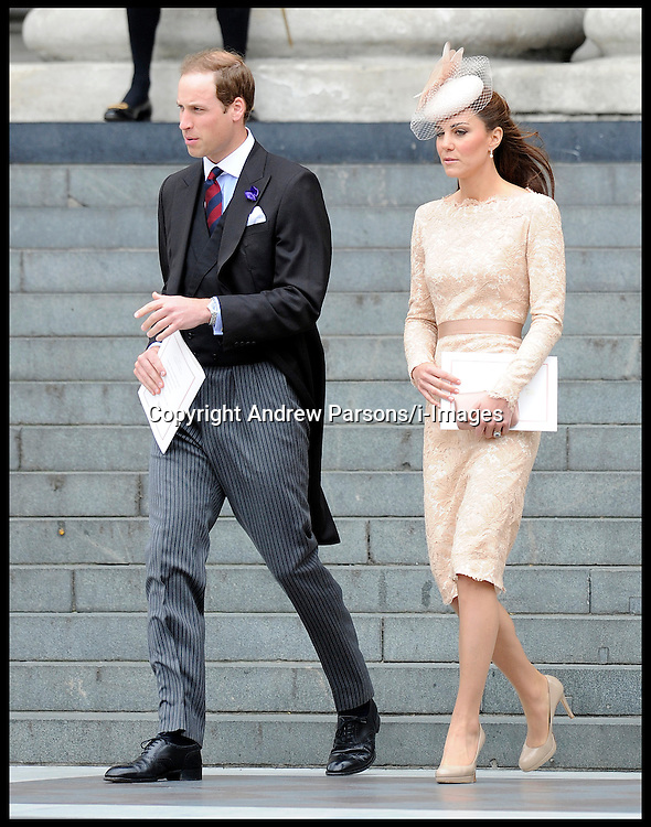 Prince William and the Duchess of Cambridge at St Pauls Cathedral for the National Service of Thanksgiving celebrating the Queens Diamond Jubilee Tuesday June 5, 2012. Photo By Andrew Parsons/i-Images