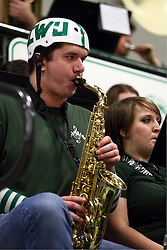 20 February 2016:  saxophone player during an NCAA women's basketball game between the Elmhurst Bluejays and the Illinois Wesleyan Titans in Shirk Center, Bloomington IL