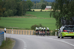 Parkhotel Valkenburg Cycling Team riders up the pace on a gentle slope during the 42,5 km team time trial of the UCI Women's World Tour's 2016 Crescent Vårgårda women's road cycling race on August 19, 2016 in Vårgårda, Sweden. (Photo by Balint Hamvas/Velofocus)