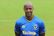 AFC Wimbledon striker Tom Elliott at AFC Wimbledon Team Photo 02AUG16 at the Cherry Red Records Stadium, Kingston, England on 2 August 2016. Photo by Stuart Butcher.