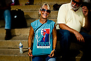 An audience member shows off her t-shirt on the steps of the Lincoln Memorial during the 'Restoring Honor' event on August 28, 2010 in Washington, DC.