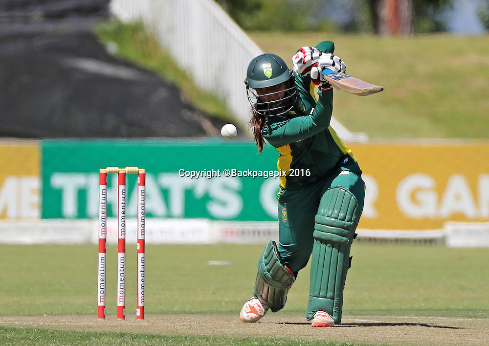 Dinesha Devnarain of South Africa bats during the 2016 International ODI Womens cricket match between South Africa and New Zealand at Boland Park, Paarl on 16 October 2016 ©Chris Ricco/BackpagePix