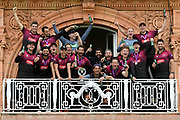 Tom Abell of Somerset and his team mates pose for a picture on the players balcony at Lords with the One Day Cup trophy during the Royal London 1 Day Cup Final match between Somerset County Cricket Club and Hampshire County Cricket Club at Lord's Cricket Ground, St John's Wood, United Kingdom on 25 May 2019.