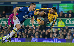 LIVERPOOL, ENGLAND - Tuesday, December 13, 2016: Everton's Phil Jagielka in action against Francis Coquelin of Arsenal during the FA Premier League match at Goodison Park. (Pic by Gavin Trafford/Propaganda)
