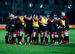 Dragons players huddle during the pre match warm up<br /> <br /> Photographer Simon King/Replay Images<br /> <br /> Guinness PRO14 Round 10 - Dragons v Leinster - Saturday 1st December 2018 - Rodney Parade - Newport<br /> <br /> World Copyright © Replay Images . All rights reserved. info@replayimages.co.uk - http://replayimages.co.uk