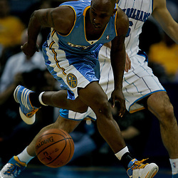 27 April 2009: Denver Nuggets guard Chauncey Billups (7) chases down a loose ball during game four of the NBA Western Conference Quarterfinals playoffs between the New Orleans Hornets and the Denver Nuggets at the New Orleans Arena in New Orleans, Louisiana.