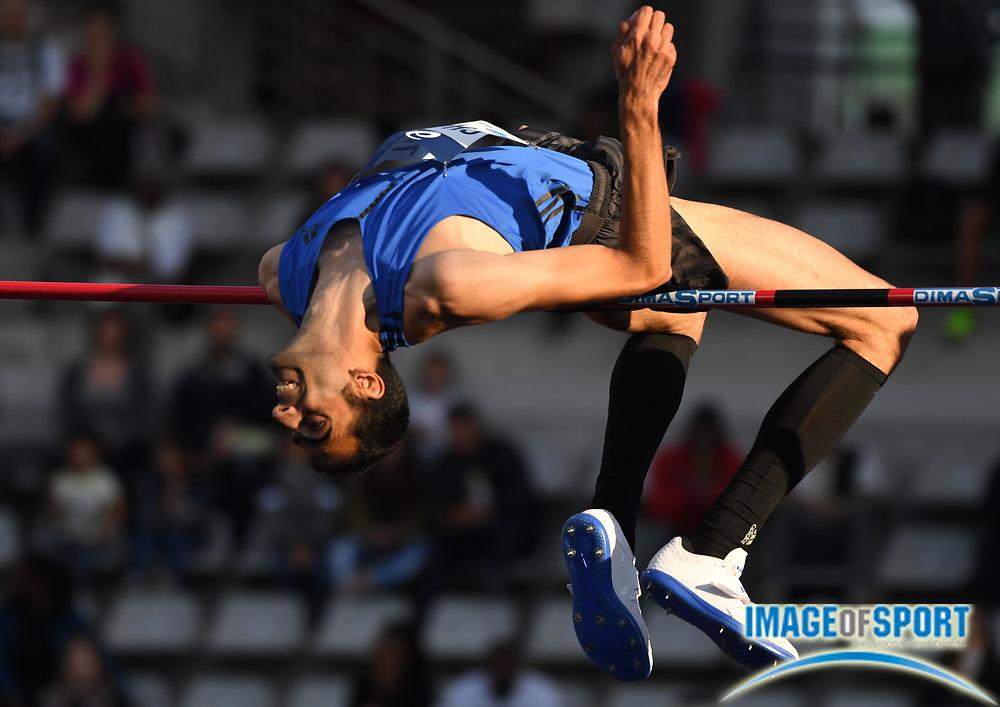 Jul 1, 2017; Paris, France; Majd Eddin Ghazal (SYR) places third in the high jump at 7-7 1/4 (2.32m) during the Meeting de Paris in an IAAF Diamond League meet at Stade Charlety.