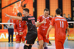 December 16, 2017 - Krakow, Malopolska, Poland - Players of of Lube Civitanova celebrate a point during the match between Lube Civitanova and SKRA Belchatow during the semi finals of Volleyball Men's Club World Championship 2017 in Tauron Arena. (Credit Image: © Omar Marques/SOPA via ZUMA Wire)