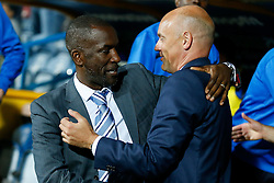 Manager Chris Powell of Huddersfield greets Manager Uwe Rosler of Wigan - Photo mandatory by-line: Rogan Thomson/JMP - 07966 386802 - 16/09/2014 - SPORT - FOOTBALL - Huddersfield, England - The John Smith's Stadium - Huddersfield Town v Wigan Athletic - Sky Bet Championship.