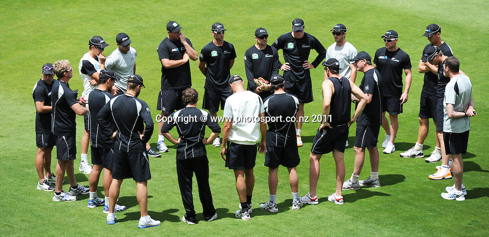 Players huddle together at Bellerive Oval ahead of the second cricket test match versus Australia in Hobart. Thursday 8 December 2011. Photo: Andrew Cornaga/Photosport.co.nz