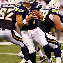 August 27, 2010; New Orleans, LA, USA; San Diego Chargers quarterback Philip Rivers (17) during the second half of a preseason game at the Louisiana Superdome. The New Orleans Saints defeated the San Diego Chargers 36-21. Mandatory Credit: Derick E. Hingle