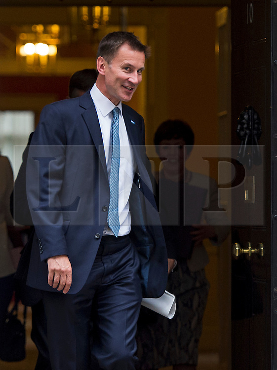 © Licensed to London News Pictures. 02/06/2015. Westminster, UK. Secretary of State for Health JEREMY HUNT leaving Number 10 Downing Street in London following a cabinet meeting. Photo credit: Ben Cawthra/LNP