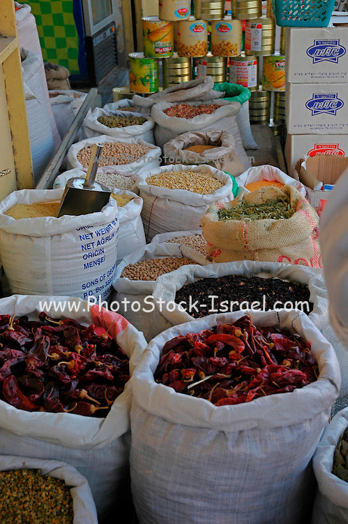 Dried herbs at an outdoor market, Akko, Israel