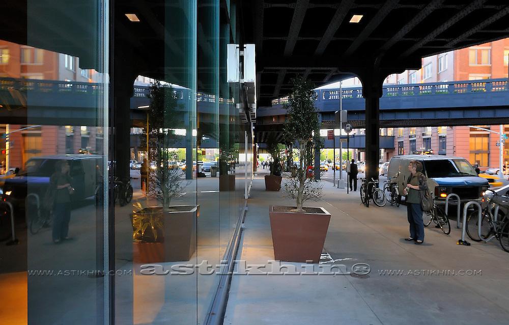 Reflection street of Manhattan in glass