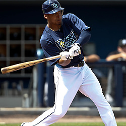 March 8, 2011; Port Charlotte, FL, USA; Tampa Bay Rays center fielder Desmond Jennings (8) during a spring training exhibition game against the Toronto Blue Jays at Charlotte Sports Park.   Mandatory Credit: Derick E. Hingle