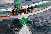 02AUG09 The 60' Trimaran Groupama 3 skippered by Frank Cammas finishes their transatlantic run from New York to Lizard Point off the Cornish coast, UK, crossing the line after 3 days 18 hours 12 minutes et 56 seconds