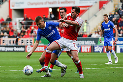 Anthony Forde of Rotherham United makes a challenge on Jake Hessenthaler of Gillingham in the box - Mandatory by-line: Ryan Crockett/JMP - 28/10/2017 - FOOTBALL - Aesseal New York Stadium - Rotherham, England - Rotherham United v Gillingham - Sky Bet League One
