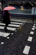 A street theme of dots and stripes in a central Londoin street.