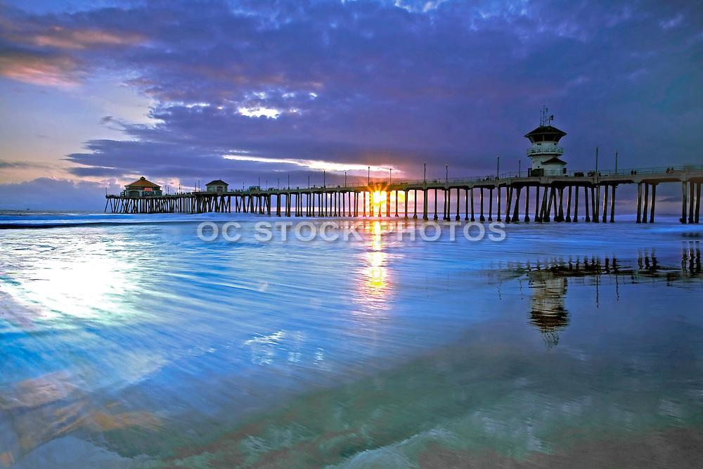 Huntington Beach Pier at Sunset Stock Photo