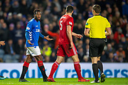 Lassana Coulibaly (#23) of Rangers FC appeals to referee Steven McLean during the Ladbrokes Scottish Premiership match between Rangers and Aberdeen at Ibrox, Glasgow, Scotland on 5 December 2018.