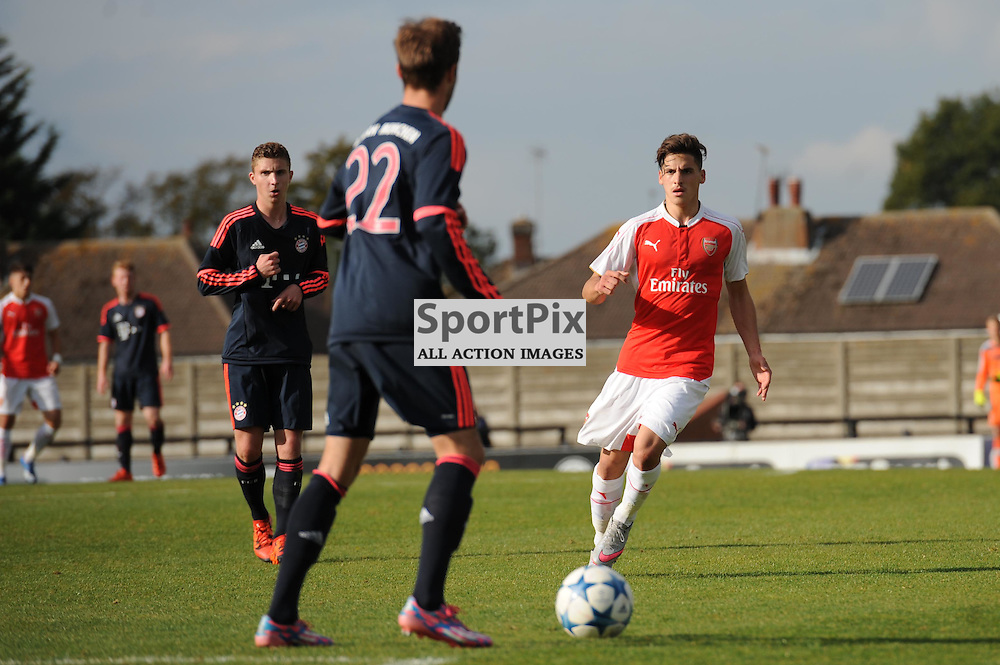 Arsenals Savvas Mourgos in action during the Arsenal u19 v Bayern Munich u19 match on Tuesday 20th October 2015 in the UEFA Youth League at Borehamwood