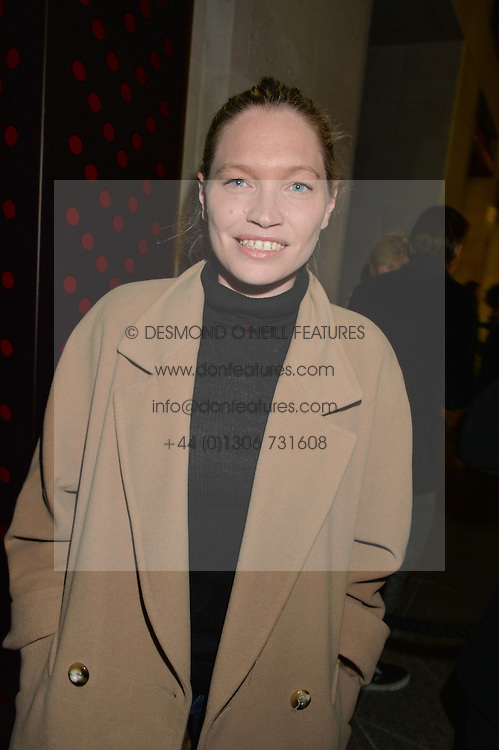SARA GILMOUR at a reception to celebrate Dom Perignon and Iris van Herpen's collaboration 'Metamorphosis' held at the Hus Gallery, 10 Hanover Street, London on 27th October 2014.