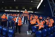 A sea of Orange as the Stewards have their pr match briefing during the EFL Sky Bet Championship match between West Bromwich Albion and Sheffield United at The Hawthorns, West Bromwich, England on 23 February 2019.