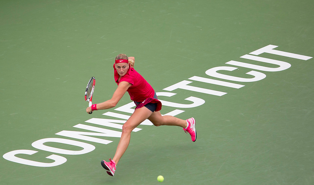 August 23, 2014, New Haven, CT:<br /> Petra Kvitova hits a backhand during the singles final against Magdalena Rybarikova on day nine of the 2014 Connecticut Open at the Yale University Tennis Center in New Haven, Connecticut Saturday, August 23, 2014.<br /> (Photo by Billie Weiss/Connecticut Open)
