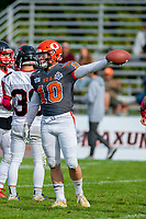 KELOWNA, BC - OCTOBER 6: Conor Richard #10 of Okanagan Sun stands on the field against the VI Riaders at the Apple Bowl on October 6, 2019 in Kelowna, Canada. (Photo by Marissa Baecker/Shoot the Breeze)