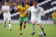 Milton Keynes - Tuesday, August 12th, 2008: Dean Lewington (R) of MK Dons and Omar Koroma (L) of Norwich City during the Carling League Cup First Round match at Stadium MK, Milton keynes. (Pic by Mark Chapman/Focus Images)